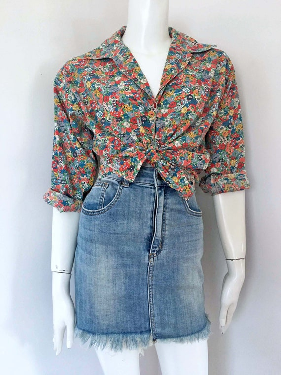 70s/80s Floral Print Shirt_Size 8-10_ Liberty Styl
