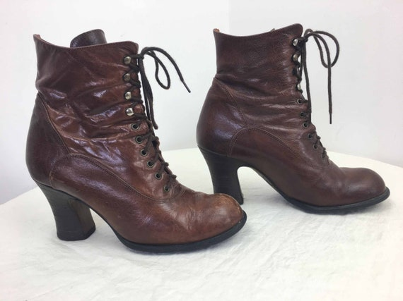 El Dantes Brown Leather Victorian Style Ankle Boot