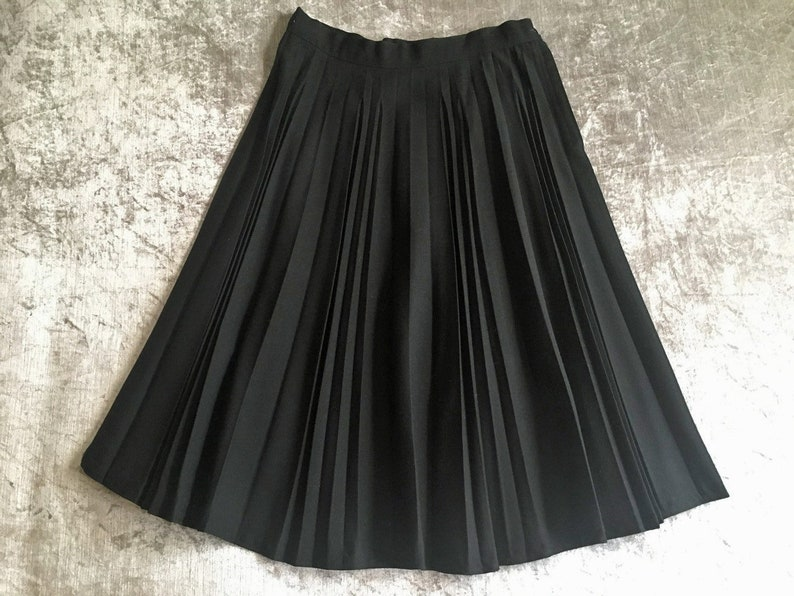 cbd9f72a56 1950s HARRIDEX Black Pure Wool Accordion Pleated A-line Skirt | Etsy