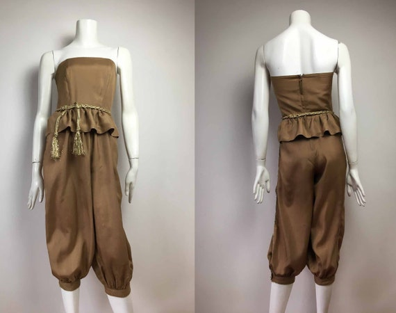 80s Silk Jumpsuit– TEENA VARIGOS - Size 6 - Tan an