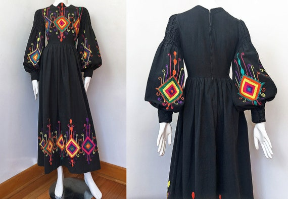 60s/70s Embroidered Peasant Dress with Bishop Slee