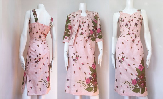60s silk handprinted exotic floral dress and jacke