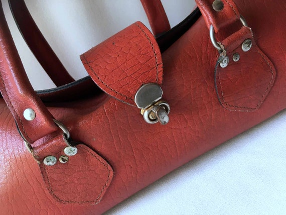 60s Red Leather Baguette Bag / Doctor's Bag_Mod To