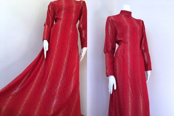 70s Red & Gold_Sheer Floor Length Gown_Size 10-12_