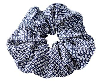 Silk cloud blue shibori / scrunchie