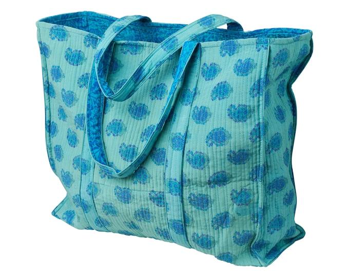 Quiltet vintage silk bag / tote bag