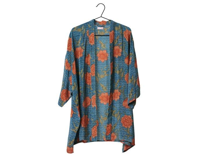 Crepe Silk kimono kort