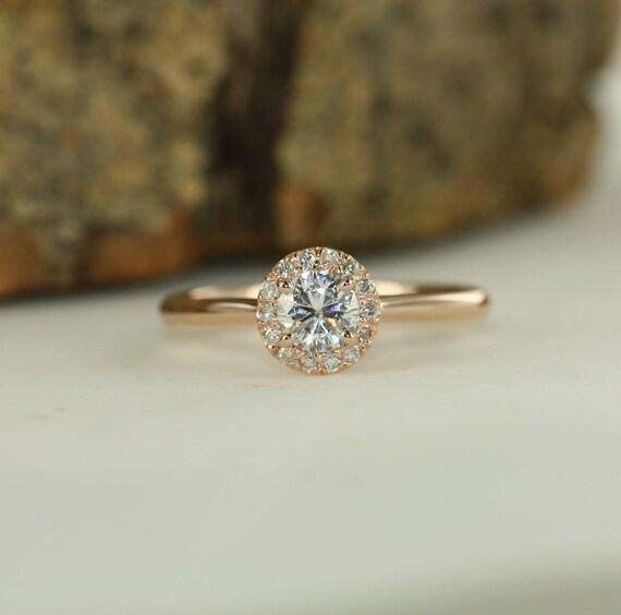 Round Moissanite 5mm Gemstone Engagement Ring In 14k Rose Gold Etsy