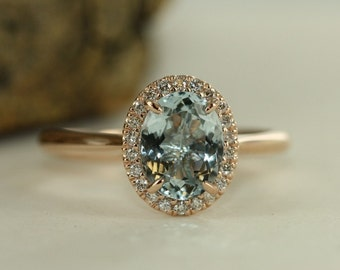 Aquamarine Engagement Ring In 14K Rose Gold 9x7mm Oval Aquamarine Wedding Ring Blue Gemstone Halo Diamond Ring-Bridal Set Available
