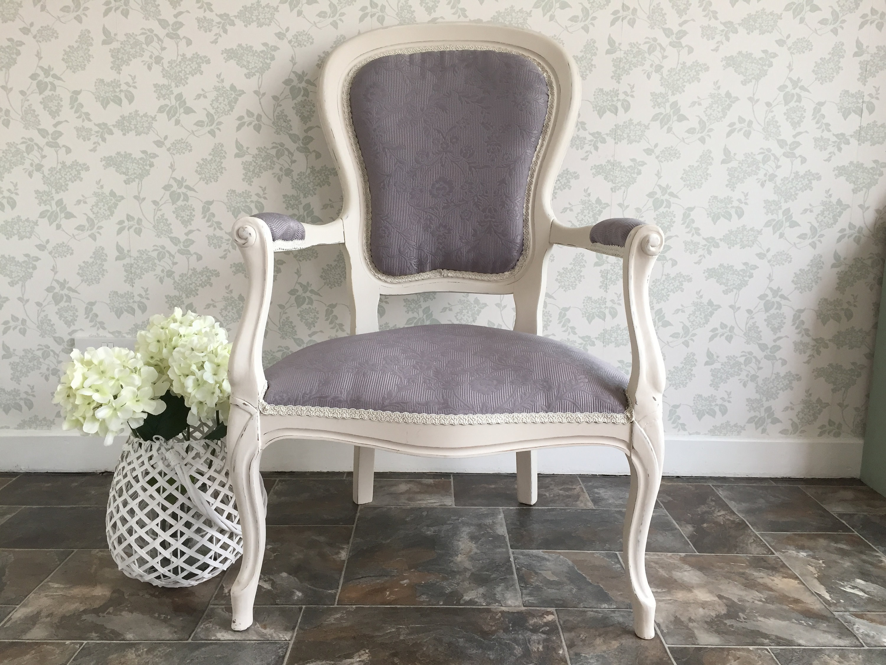 Victorian Style Nursing Arm Chair Reupholstered in Grey Fabric // Shabby Chic // Vintage // & Victorian Style Nursing Arm Chair Reupholstered in Grey Fabric ...
