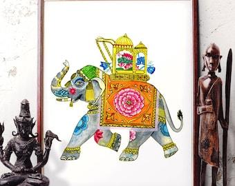 Traditional Elephant Watercolor Painting, Indian Elephant Wall Art, Elephant Home Decor, Bohemian Elephant Art Prints and Original Painting