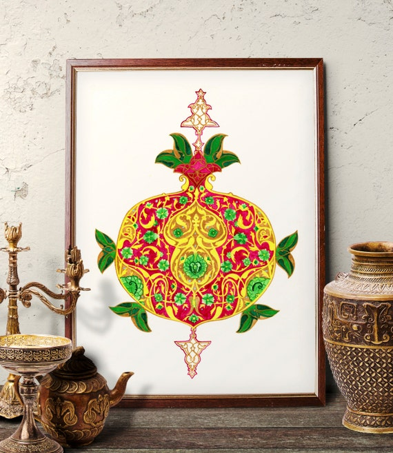 Traditional Ottoman Tulip Watercolor Wall Art Turkish Floral: Traditional Turkish Pomegranate Watercolor Painting Ottoman