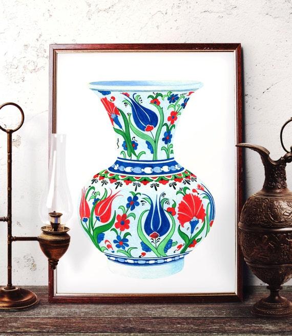 Traditional Iznik Vase Pottery Painting Ottoman Blue Tulip Etsy