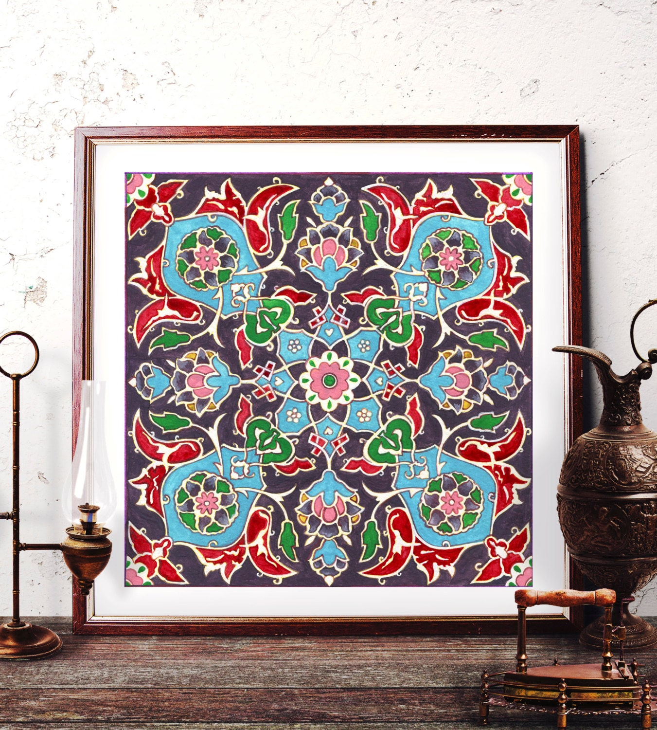 Traditional Tile Wall Art Ottoman Floral Watercolor