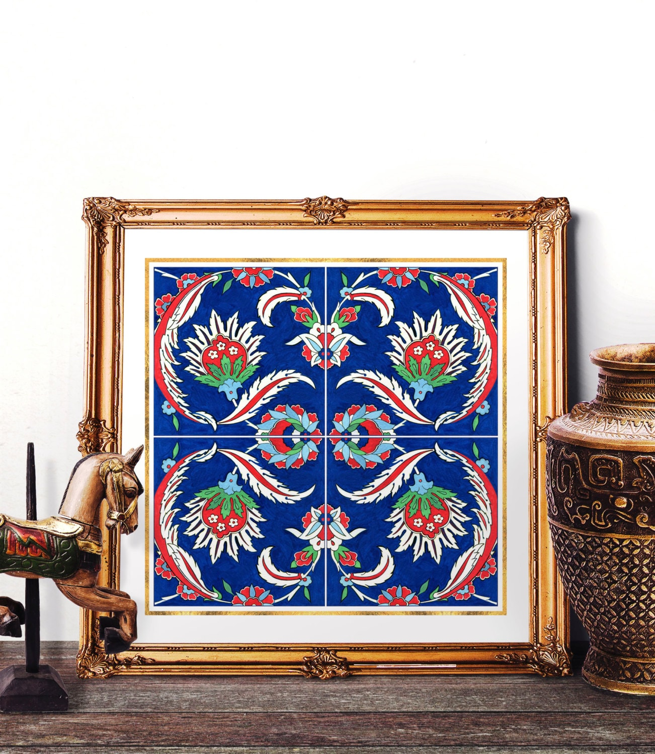 Traditional Turkish Ottoman Red Flower Home Decor Mosaic