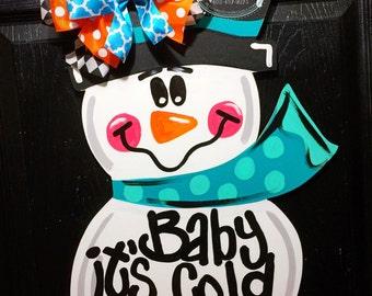 unfinished door hanger winter door hanger snowman door hanger winter door decor baby its cold outside snowman decorations