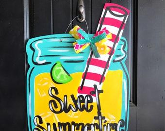 Summer Door Hanger- Mason Jar Door Hanger- Lemonade Door Hanger- Summer Door Decor- Mason Jar Hanger- Mason Jar Drink- Sweet Summertime