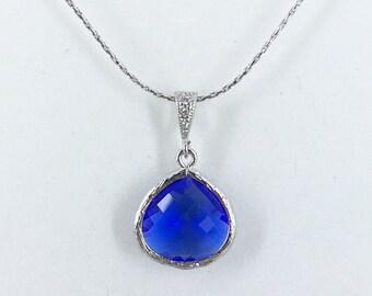 Cobalt Blue Wedding Bridesmaid Necklace Cobalt Blue Jewelry Cubic Zirconia Royal Blue Necklace Bridesmaid Gift for Her Wedding Jewelry