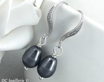 Bridesmaid Earrings Dangle Earrings Drop Earrings Dark Grey Drop Earrings Gray Earrings Wedding Jewelry Gift for Mother Swarovski Earrings