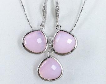 Pink Jewelry Set Bridesmaid Jewelry Pink Blush Necklace Bridesmaid Gift Pink Necklace Wedding Jewelry