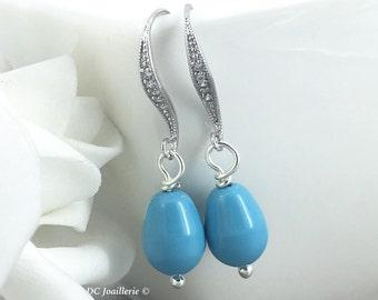 Bridesmaid Earrings Turquoise Earrings Maid of Honor Earrings Pear Pearl Earrings Bridesmaid Earrings Wedding Earrings Swarovski Earrings