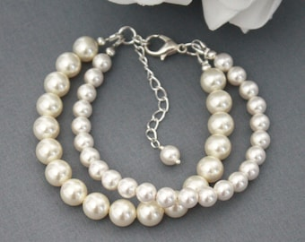 Classic Swarovski Pearl Bracelet Double Strand Bracelet Bridesmaid Bracelet Swarovski Bracelet Bridal Jewelry Gift for Her Mother of Bride