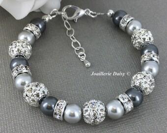 Swarovski Gray Pearl Bracelet Shade of Grey Bracelet Bridesmaid Bracelet Gift on a budget Maid of Honor Mother of Bride Mother of Groom Gift