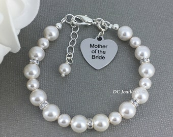Mother of Bride Bracelet Swarovski Bracelet MOB Bracelet Mother in Law Bracelet MOB Gift Mother in Law Gift Available in White / Cream