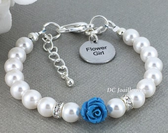 Malibu Flower Bracelet Flower Girl Bracelet Pearl and Flower Bracelet Swarovski Bracelet Flower Girl Gift Malibu Flower Jewelry