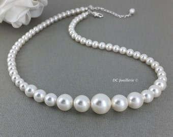 Swarovski Necklace Pearl Necklace Bridal Jewelry Bridesmaid Necklace Bridesmaid Gift Bridal Party Jewelry Gift for Mother of Bride Jewelry