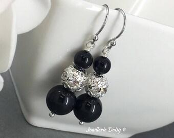 Bridesmaid Gift Black Swarovski Earring Pearl Earrings Dangle Earrings Bridesmaid Gift Bridesmaid Jewelry Black Earrings Gift Idea Wedding