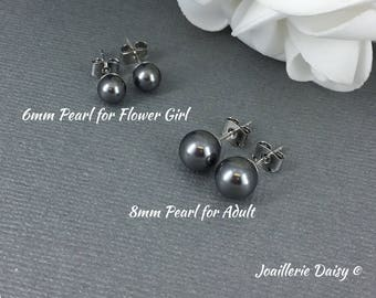 Bridesmaid Earrings Flower Girl Gift Charcoal Earrings Stud Earrings Flower Girl Earrings Bridesmaid Gift Grey Earrings Wedding Earrings
