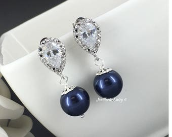Navy Earrings Bridesmaid Gift Swarovski Earrings Dangle Earrings Bridal Earrings Wedding Earrings Maid of Honor Gift for Her