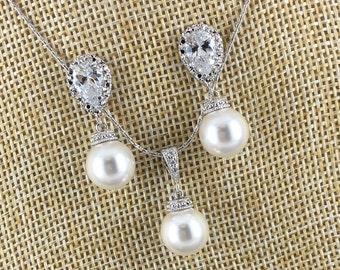 Bridesmaid Gift Jewelry Set Swarovski Jewelry Pearl Necklace Earring Bridesmaid Jewelry Maid of Honor Gift Wedding Jewelry Gift for Moms