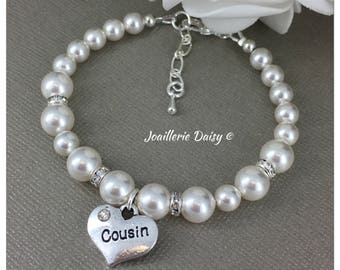 Cousin Bracelet Gift Swarovski For Birthday Bridal Party Idea Wedding Jewelry Thank You Her