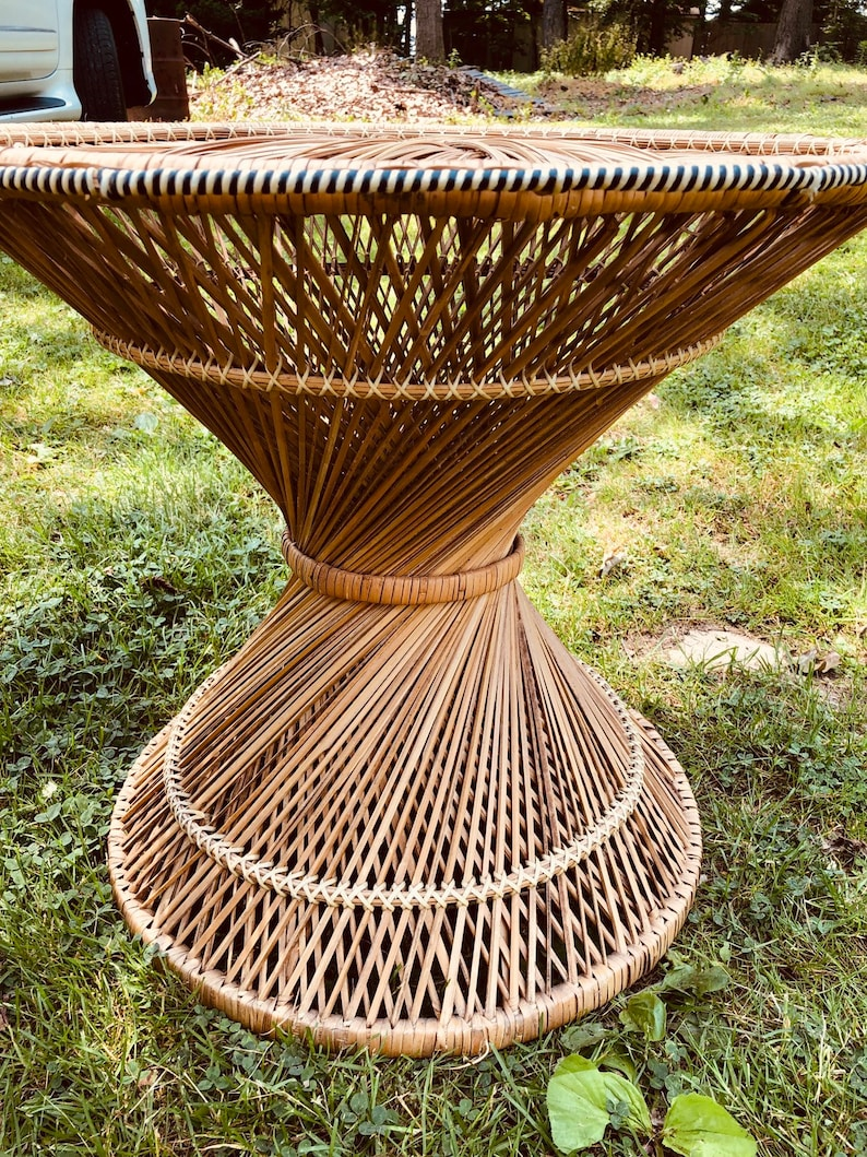 Vintage Rattan chair and table.