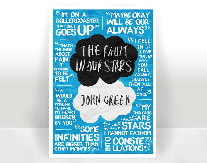 The Fault In Our Stars Quotes Art Print Poster Many Sizes Etsy
