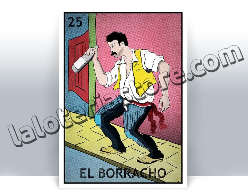 graphic regarding Free Printable Mexican Loteria Cards named El Borracho Loteria Card - The Drunk Mexican Bingo Artwork Print - Poster - Quite a few Measurements