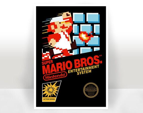 Super Mario Bros Nes Cover Art Print Poster Many Sizes Etsy
