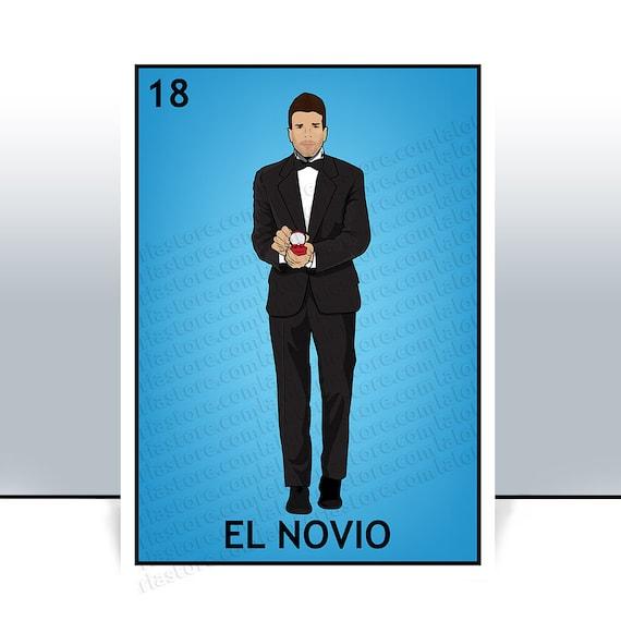 el novio loteria card the groom mexican bingo art print etsy