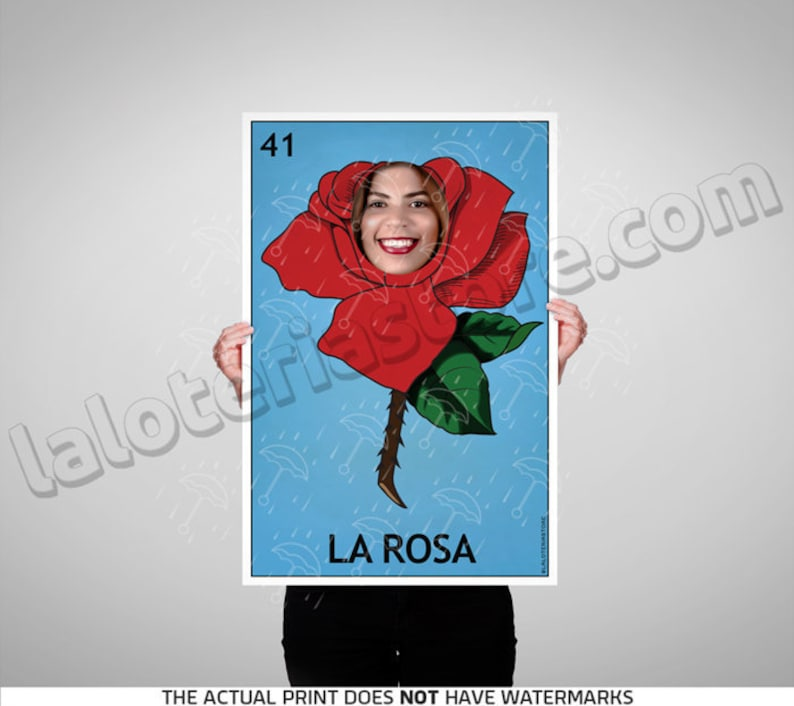 La Rosa Loteria Photo Booth Party Prop Frame Cut Out - Rose Mexican Fiesta  Foreground Prop Vinyl Canvas Print