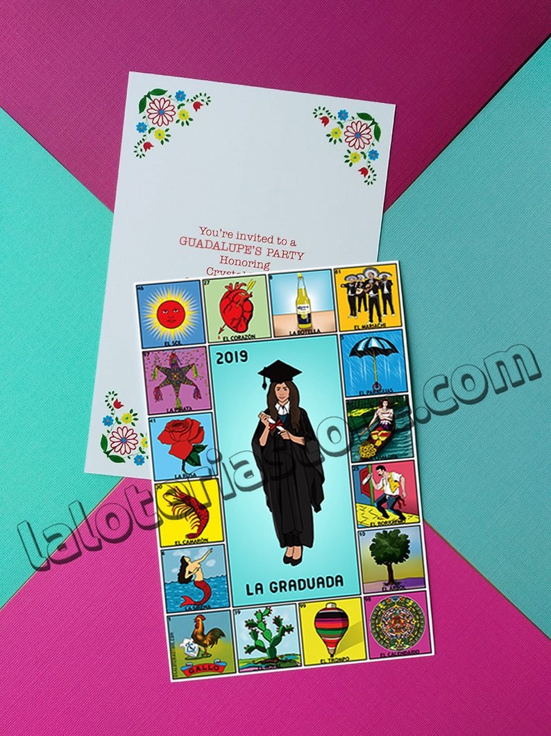 Printed Graduation Party Invites Loteria Fiesta 4x6 Front Etsy