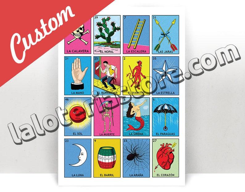 photograph relating to Loteria Game Printable titled Tailor made Loteria Board Print - Tailored Lottery Playing cards Artwork Print - Poster - Countless Dimensions