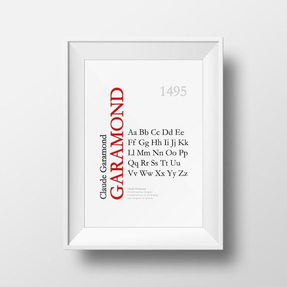 Garamond Font Type Designer Art Print - Poster - Many Sizes
