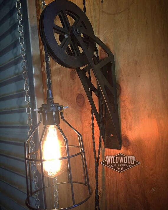 new product 6edd0 cb136 Industrial Pulley Wall Sconce Light