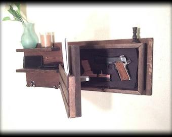 Choose color hidden gun storage compartment coat key rack money concealment hanger shelf