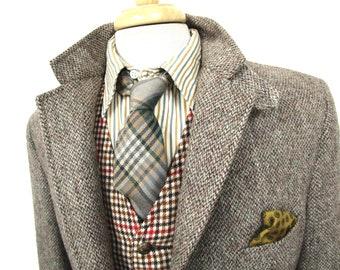 77362dae2b6b Vintage HARRIS TWEED Blazer 40 L CHINSTRAP ~ jacket sport coat