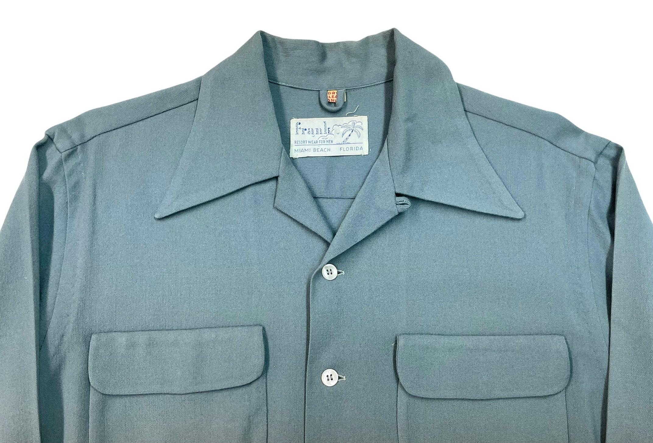 1950s Mens Hats | 50s Vintage Men's Hats Vintage 1950S Rayon  Wool Loop Collar Shirt Sz M $124.99 AT vintagedancer.com