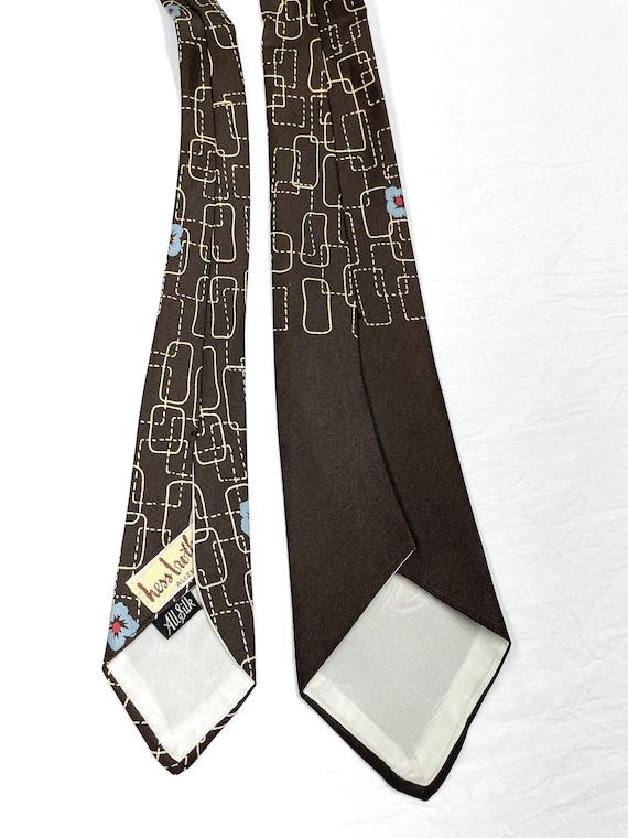 Vintage 1940s 50s Silk Tiki Flower Tie - image 4