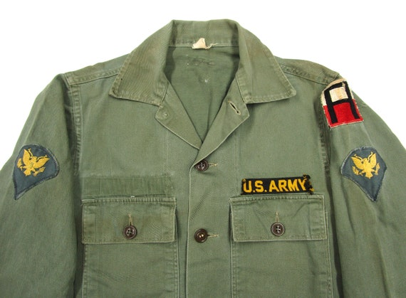 Vintage 1960s US Army Cotton OG107 Shirt sz S ~ PA